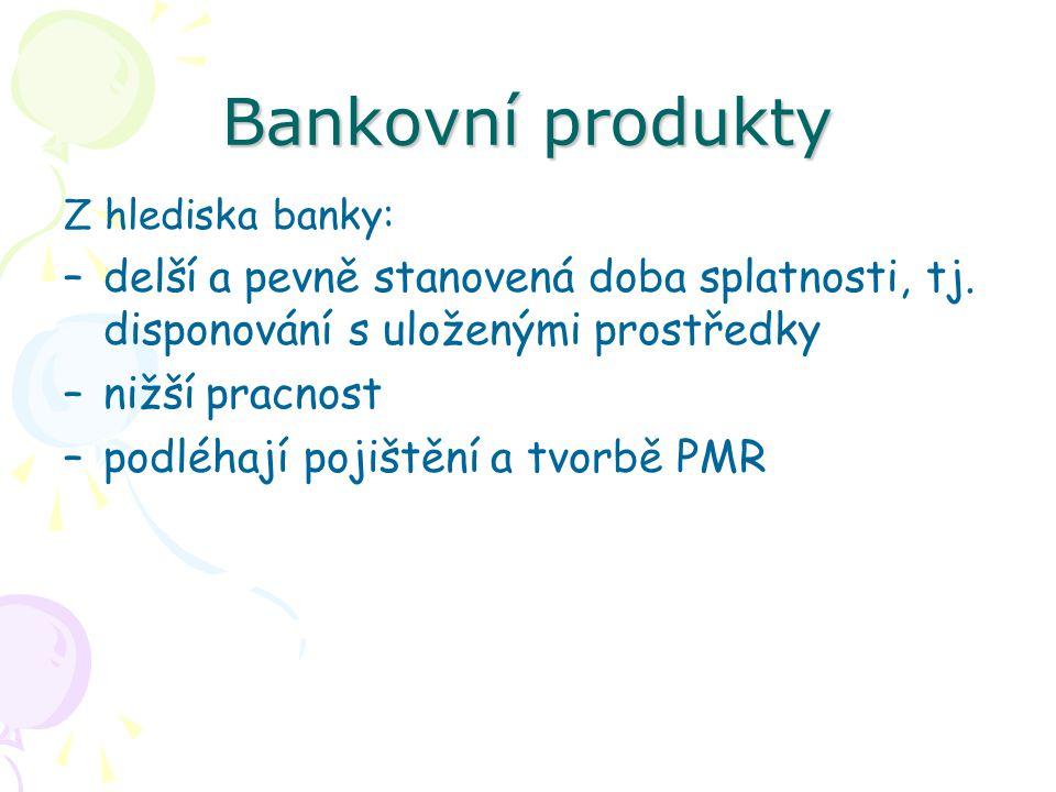 Bankovní produkty Z hlediska banky: –delší a pevně stanovená doba splatnosti, tj. disponování s uloženými prostředky –nižší pracnost –podléhají pojišt