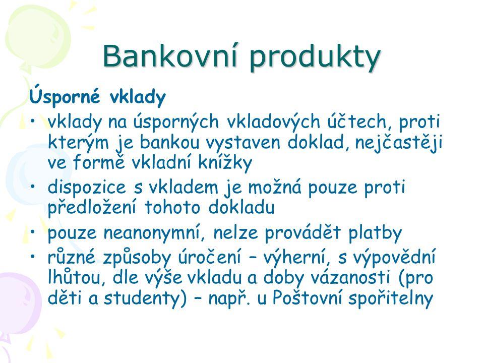 Bankovní produkty Úsporné vklady vklady na úsporných vkladových účtech, proti kterým je bankou vystaven doklad, nejčastěji ve formě vkladní knížky dis