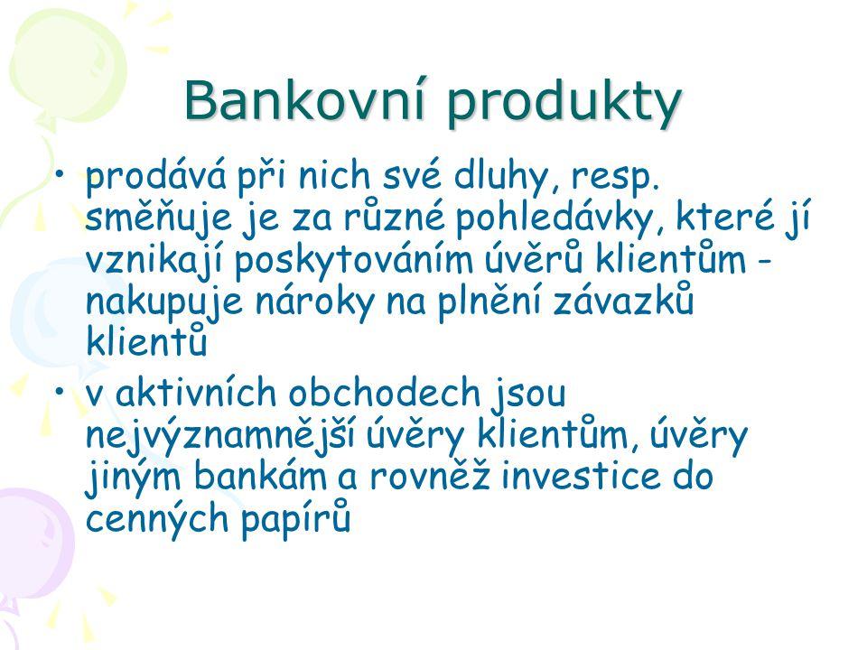 Bankovní produkty Pasivní bankovní produkty souvisejí bezprostředně s položkami pasiv bankovní rozvahy jejich obsahem je soustřeďování peněžních prostředků, které se uvolňují v důsledku časového nesouladu přílivu a odlivu peněžních příjmů ekonomických subjektů prostřednictvím pasivních obchodů banka shromažďuje peněžní fondy potřebné k aktivním obchodům