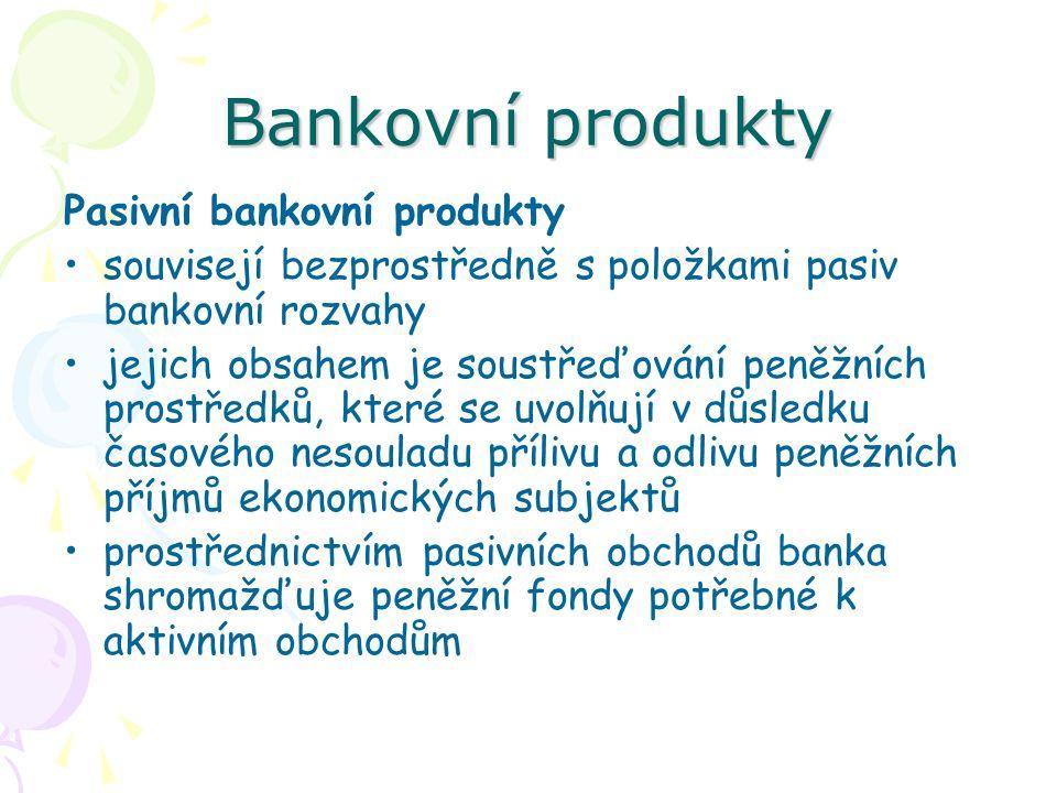 Bankovní produkty Úvěry poskytované podnikatelským subjektům Jsou poskytovány na různé účely: –investiční úvěr (i hypoteční) –emisní půjčky – odkup dluhopisů –sanační úvěr – záchranné financování