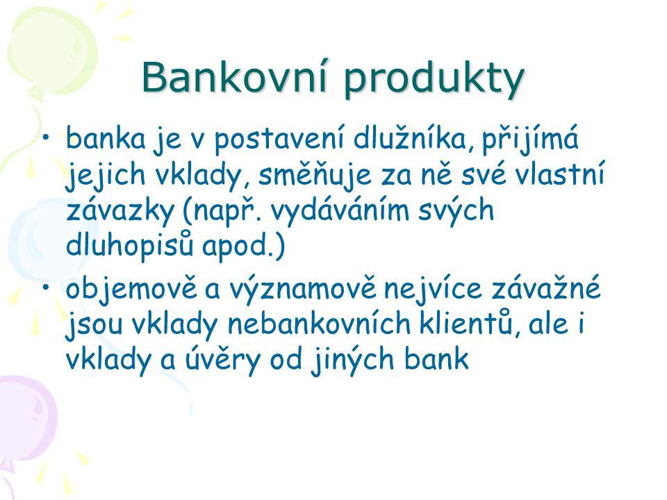 Bankovní produkty Bankovní neutrální produkty nemají přímou vazbu na bankovní bilanci, banka při nich není ve věřitelském ani v dlužnickém postavení zprostředkovaně však zpravidla mají určitý odvozený vliv na jednu či druhou stranu bankovní bilance: –zahrnují různé komisionářské služby (např.