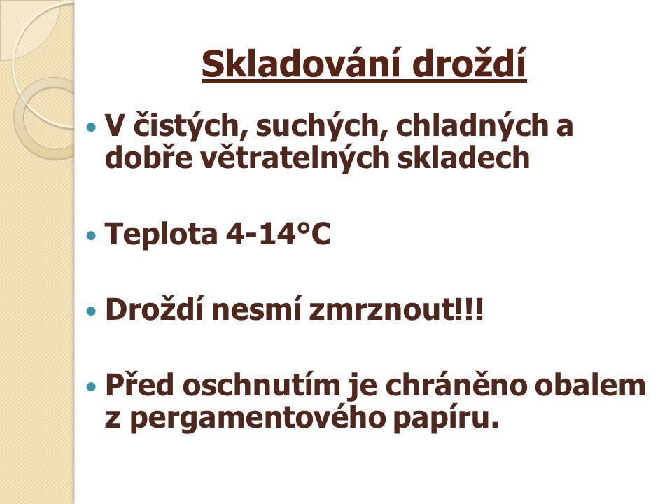 Skladování droždí V čistých, suchých, chladných a dobře větratelných skladech Teplota 4-14°C Droždí nesmí zmrznout!!.