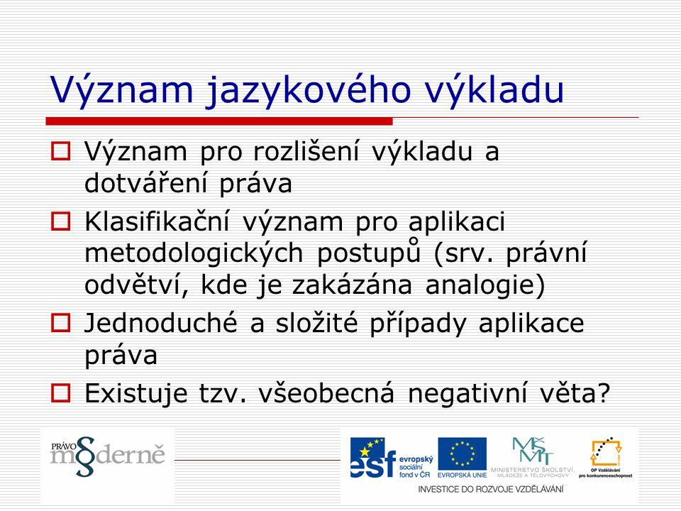 Význam jazykového výkladu  Význam pro rozlišení výkladu a dotváření práva  Klasifikační význam pro aplikaci metodologických postupů (srv.