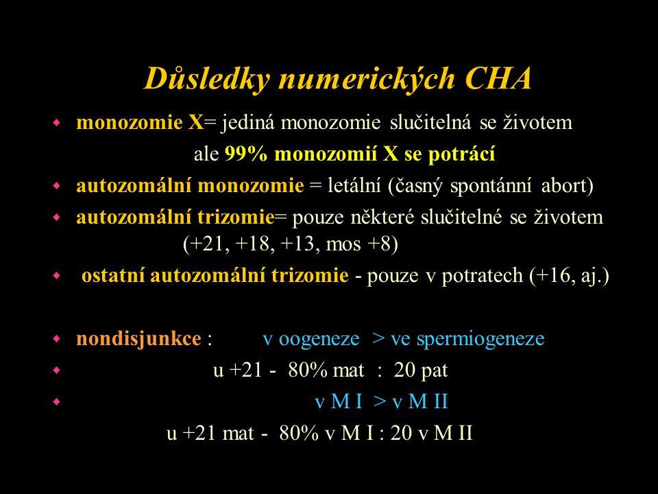 """Příčiny nondisjunkce w Vnitřní - individuální riziko jednotlivých chromozomů k nondisjunkci w - věk matky > 35 let w - věk otce > 50 let w Vnější - zevní mutageny - nejsou hlavní příčinou w Věk matky : w chyba v M I : stárnutí vajíčka, špatná funkce dělícího vřeténka w změny v intracelulárních podmínkách v důsledku nedostatečné hormonální činnosti w kumulace mutagenního ovlivnění během života ženy w chyba v M II: opožděná fertilizace - """"přezrání ovulovaného vajíčka, stárnutí spermie"""