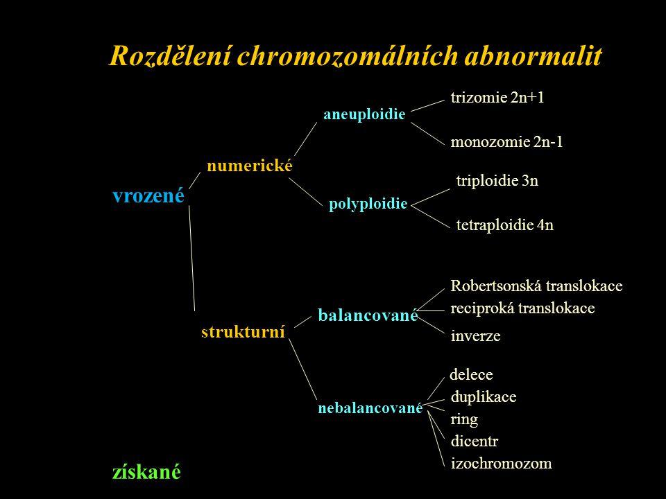 mozaika = dvě a více linií buněk s odlišným karyotypem vznik z jedné zygoty chimera = karyotyp 46,XX/46,XY vznik ze dvou zygot - oplozením vajíčka a polového tělíska, každé jednou spermií s odlišným gonozomem Získané CHA : zlomy, chromatidové výměny, chromozomové výměny - dicetry, ringy, translokace - vznik působením mutagenů - klastogenů