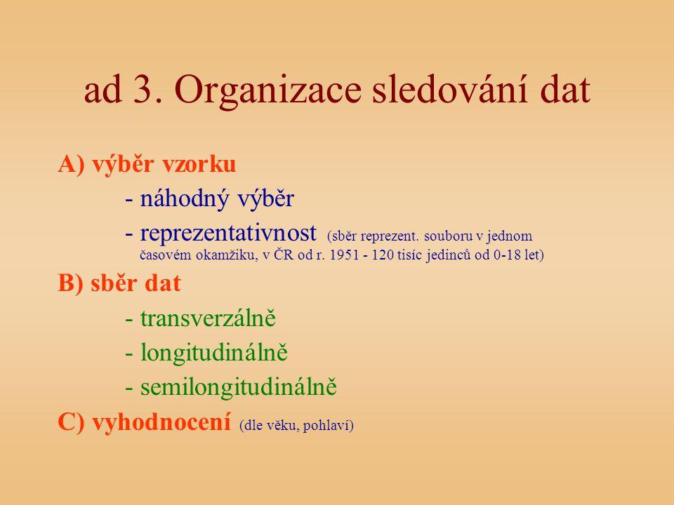 ad 3. Organizace sledování dat A) výběr vzorku - náhodný výběr - reprezentativnost (sběr reprezent. souboru v jednom časovém okamžiku, v ČR od r. 1951