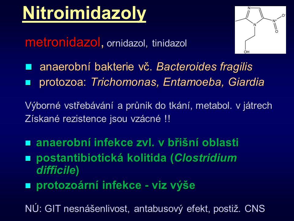 Nitroimidazoly metronidazol, ornidazol, tinidazol anaerobní bakterie vč. Bacteroides fragilis anaerobní bakterie vč. Bacteroides fragilis protozoa: Tr
