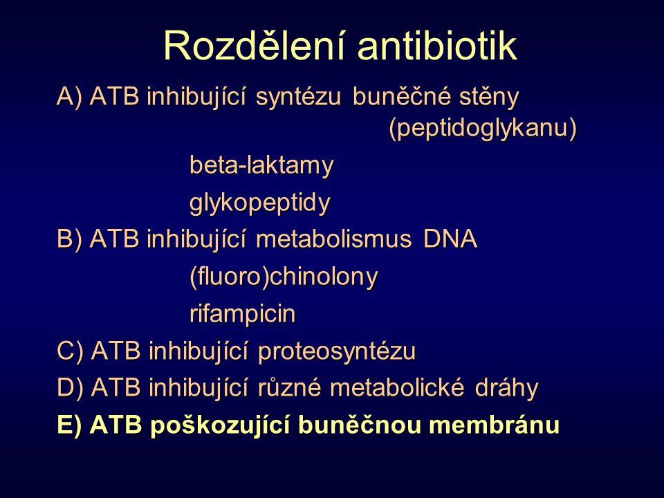 Rozdělení antibiotik A) ATB inhibující syntézu buněčné stěny (peptidoglykanu) beta-laktamyglykopeptidy B) ATB inhibující metabolismus DNA (fluoro)chin
