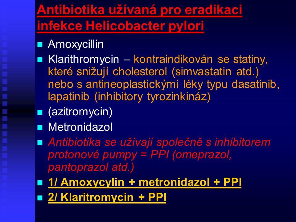 Antibiotika užívaná pro eradikaci infekce Helicobacter pylori Amoxycillin Klarithromycin – kontraindikován se statiny, které snižují cholesterol (simv