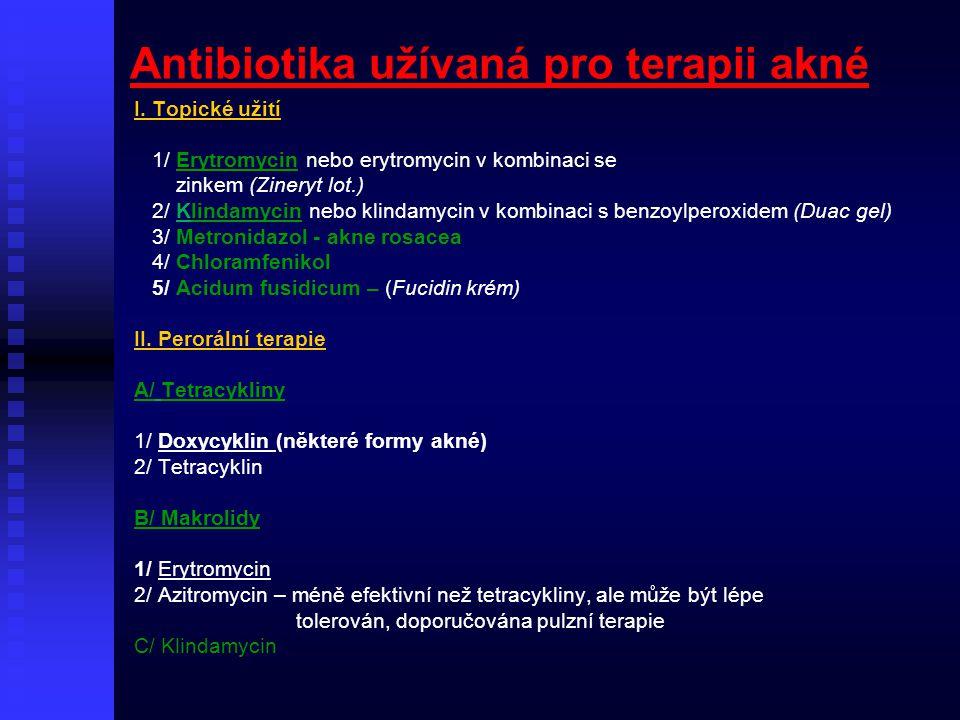 Antibiotika užívaná pro terapii akné I. Topické užití 1/ Erytromycin nebo erytromycin v kombinaci se zinkem (Zineryt lot.) 2/ Klindamycin nebo klindam