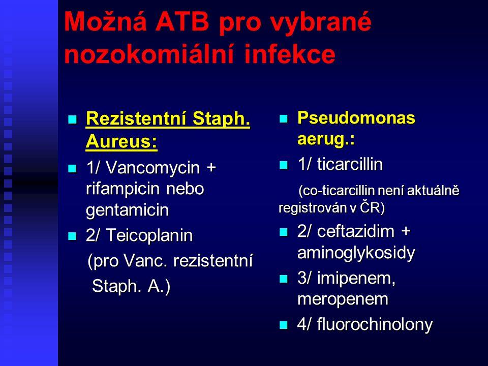 Možná ATB pro vybrané nozokomiální infekce Rezistentní Staph. Aureus: Rezistentní Staph. Aureus: 1/ Vancomycin + rifampicin nebo gentamicin 1/ Vancomy
