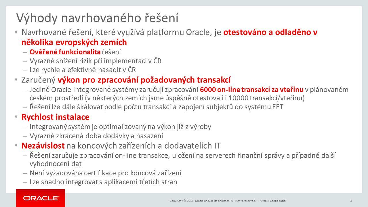 Copyright © 2015, Oracle and/or its affiliates. All rights reserved. | Výhody navrhovaného řešení Navrhované řešení, které využívá platformu Oracle, j