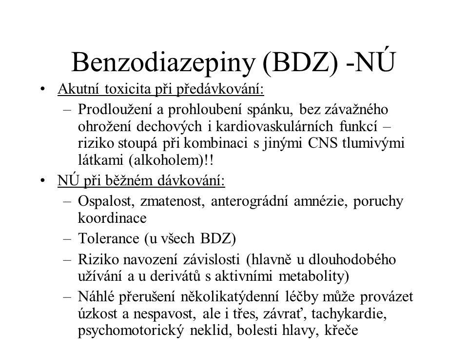 Benzodiazepiny (BDZ) -NÚ Akutní toxicita při předávkování: –Prodloužení a prohloubení spánku, bez závažného ohrožení dechových i kardiovaskulárních fu