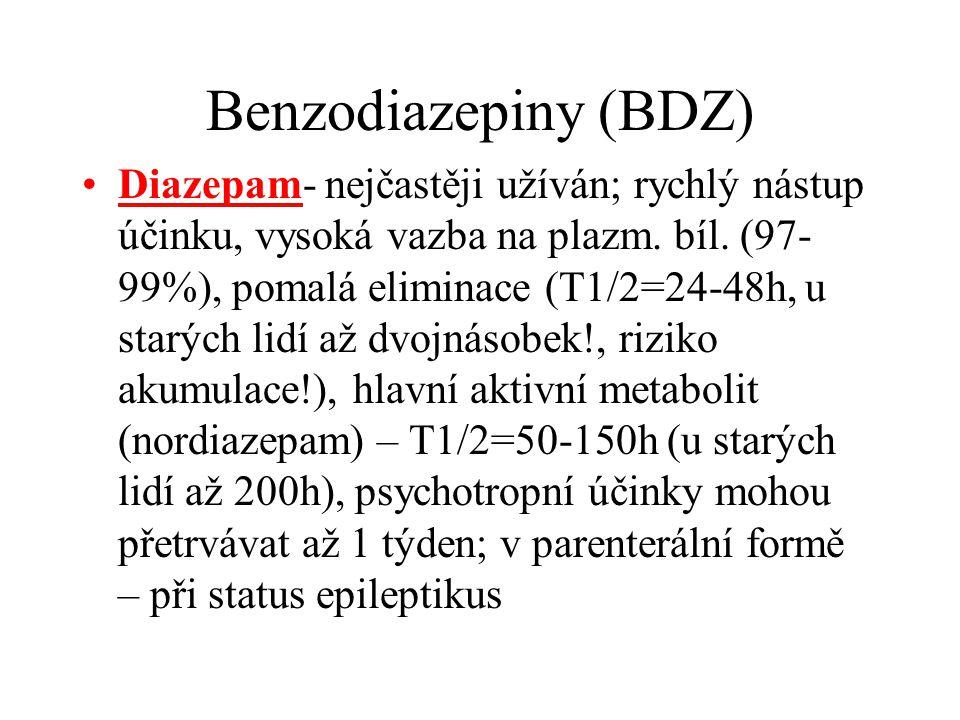 Benzodiazepiny (BDZ) Diazepam- nejčastěji užíván; rychlý nástup účinku, vysoká vazba na plazm. bíl. (97- 99%), pomalá eliminace (T1/2=24-48h, u starýc