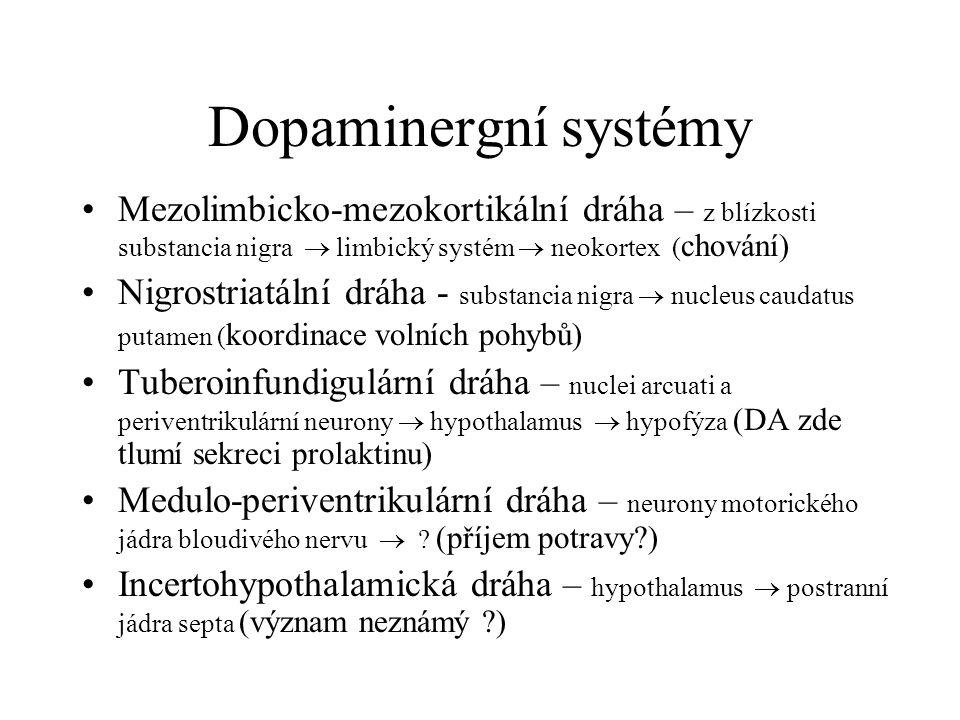 Dopaminergní systémy Mezolimbicko-mezokortikální dráha – z blízkosti substancia nigra  limbický systém  neokortex ( chování) Nigrostriatální dráha -