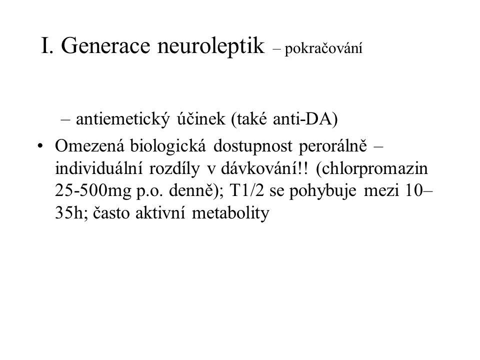I. Generace neuroleptik – pokračování –antiemetický účinek (také anti-DA) Omezená biologická dostupnost perorálně – individuální rozdíly v dávkování!!