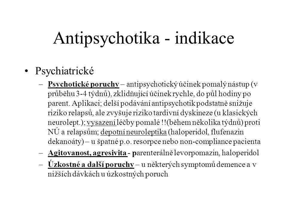 Antipsychotika - indikace Psychiatrické –Psychotické poruchy – antipsychotický účinek pomalý nástup (v průběhu 3-4 týdnů), zklidňující účinek rychle,
