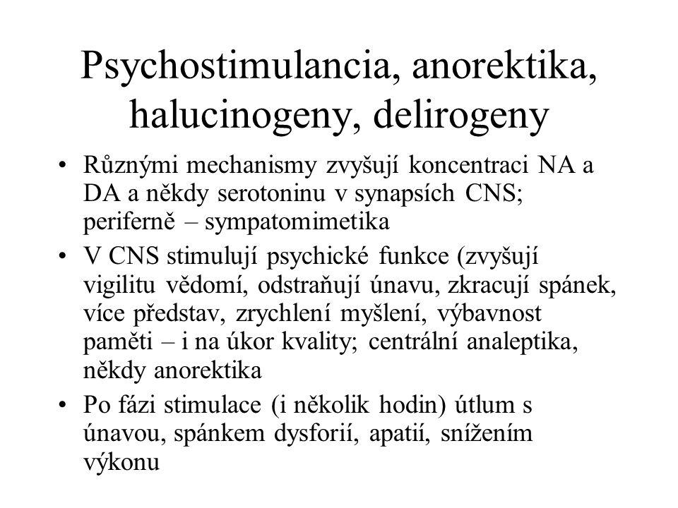 Psychostimulancia, anorektika, halucinogeny, delirogeny Různými mechanismy zvyšují koncentraci NA a DA a někdy serotoninu v synapsích CNS; periferně –
