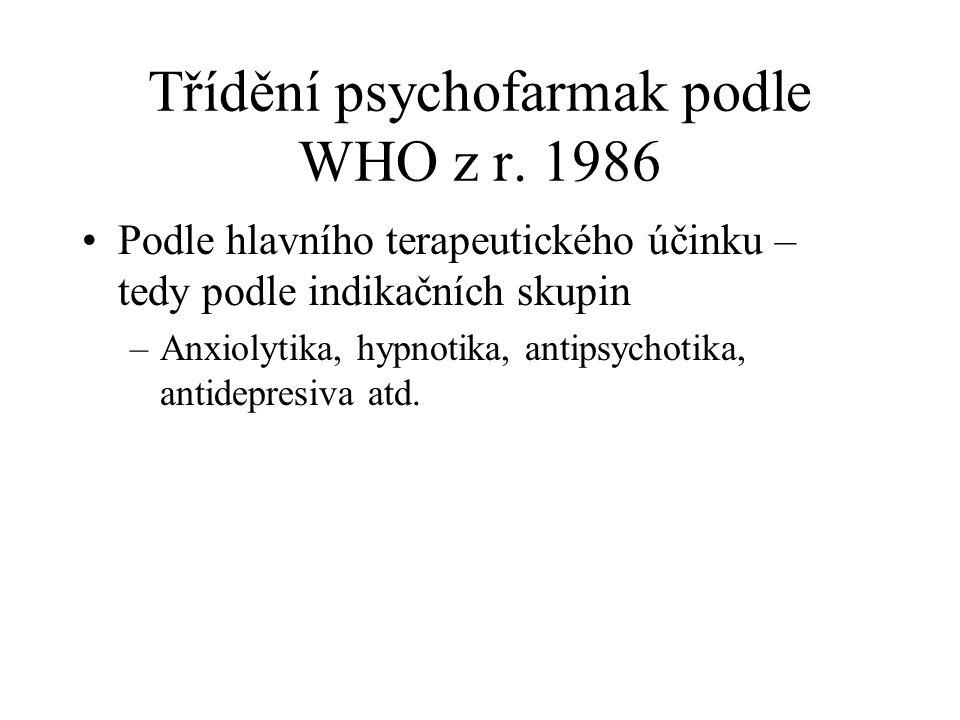Třídění psychofarmak podle WHO z r. 1986 Podle hlavního terapeutického účinku – tedy podle indikačních skupin –Anxiolytika, hypnotika, antipsychotika,