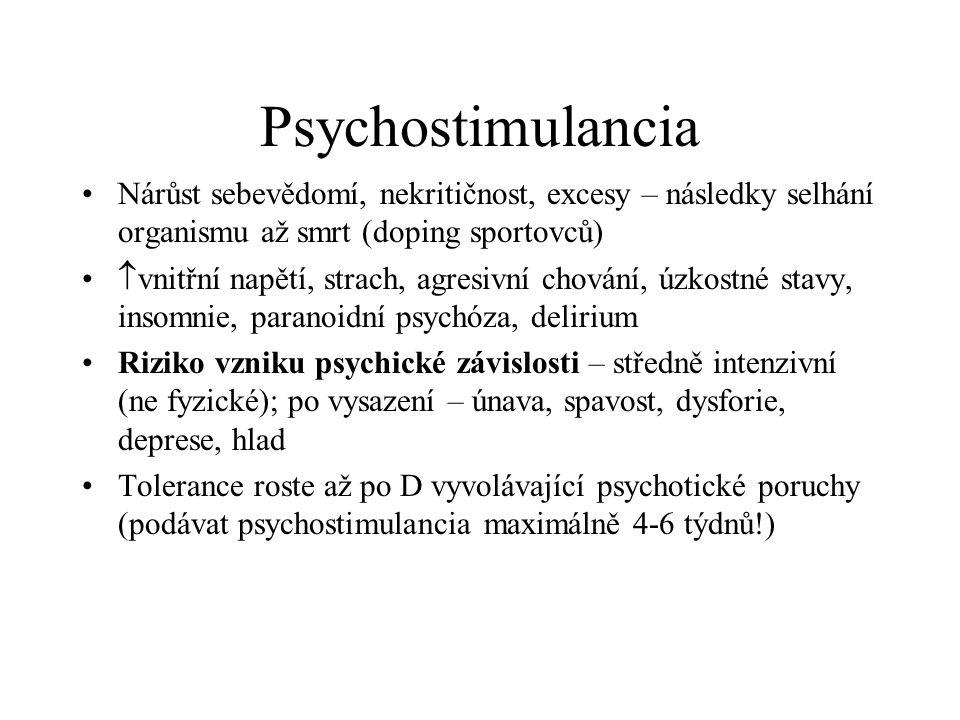 Psychostimulancia Nárůst sebevědomí, nekritičnost, excesy – následky selhání organismu až smrt (doping sportovců)  vnitřní napětí, strach, agresivní
