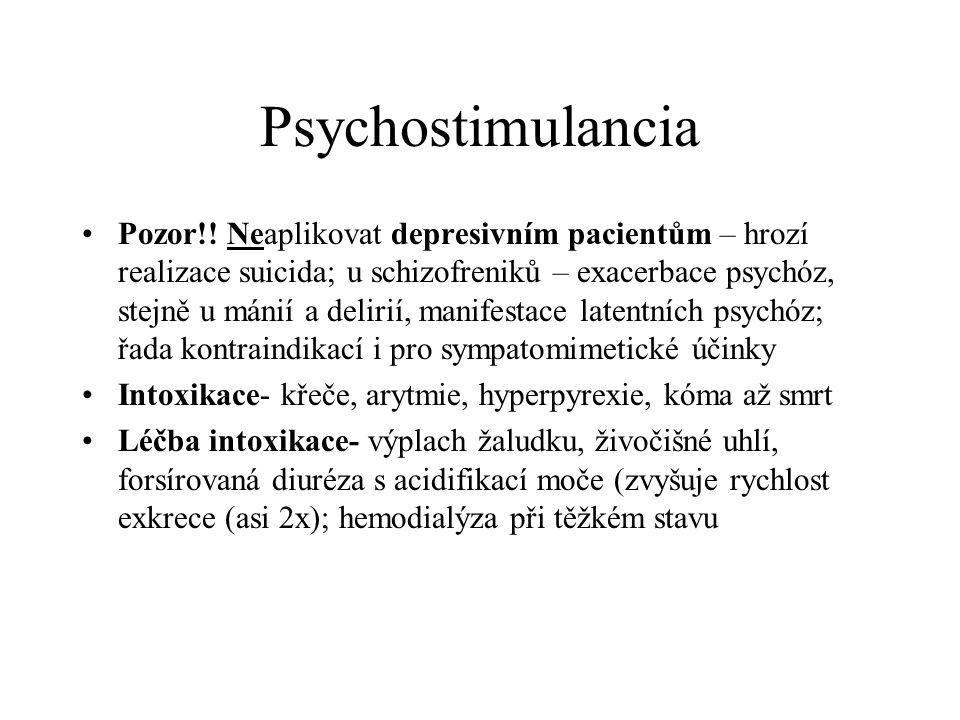 Psychostimulancia Pozor!! Neaplikovat depresivním pacientům – hrozí realizace suicida; u schizofreniků – exacerbace psychóz, stejně u mánií a delirií,