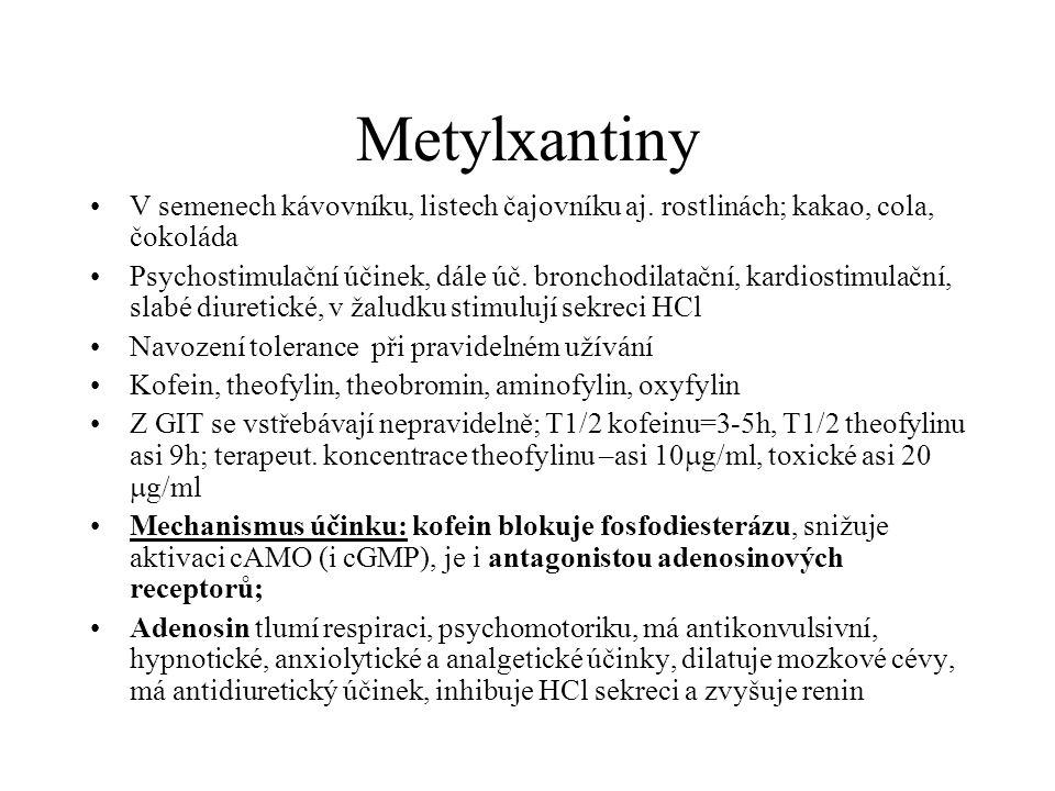 Metylxantiny V semenech kávovníku, listech čajovníku aj. rostlinách; kakao, cola, čokoláda Psychostimulační účinek, dále úč. bronchodilatační, kardios