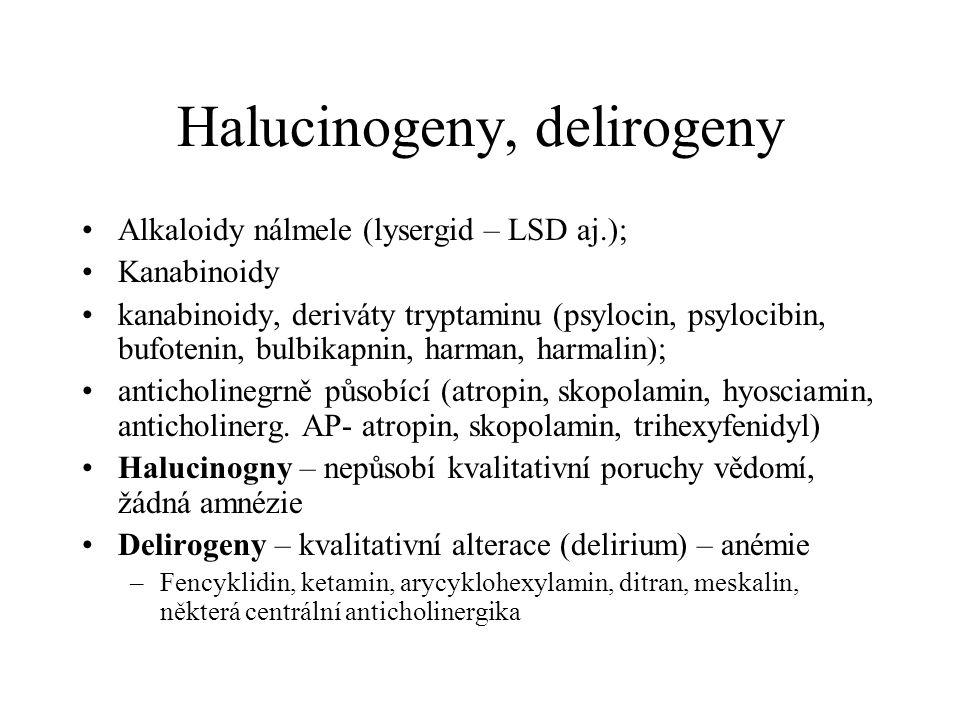 Halucinogeny, delirogeny Alkaloidy nálmele (lysergid – LSD aj.); Kanabinoidy kanabinoidy, deriváty tryptaminu (psylocin, psylocibin, bufotenin, bulbik