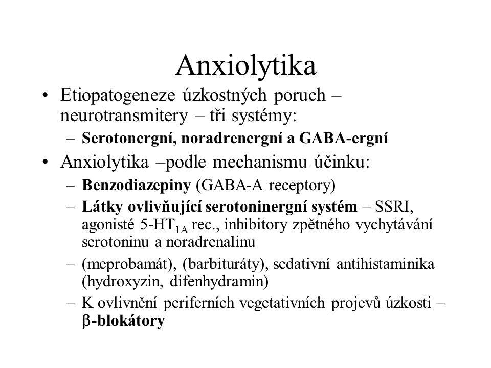 Anxiolytika Etiopatogeneze úzkostných poruch – neurotransmitery – tři systémy: –Serotonergní, noradrenergní a GABA-ergní Anxiolytika –podle mechanismu