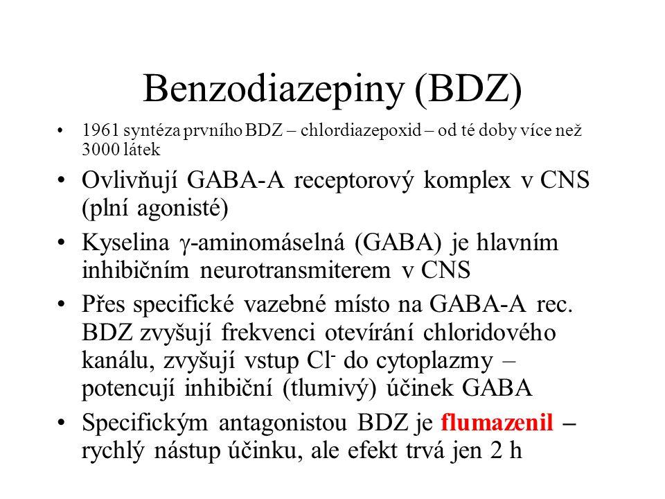 Benzodiazepiny (BDZ) 1961 syntéza prvního BDZ – chlordiazepoxid – od té doby více než 3000 látek Ovlivňují GABA-A receptorový komplex v CNS (plní agon
