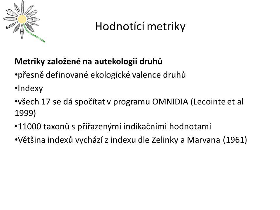 Hodnotící metriky Metriky založené na autekologii druhů přesně definované ekologické valence druhů Indexy všech 17 se dá spočítat v programu OMNIDIA (