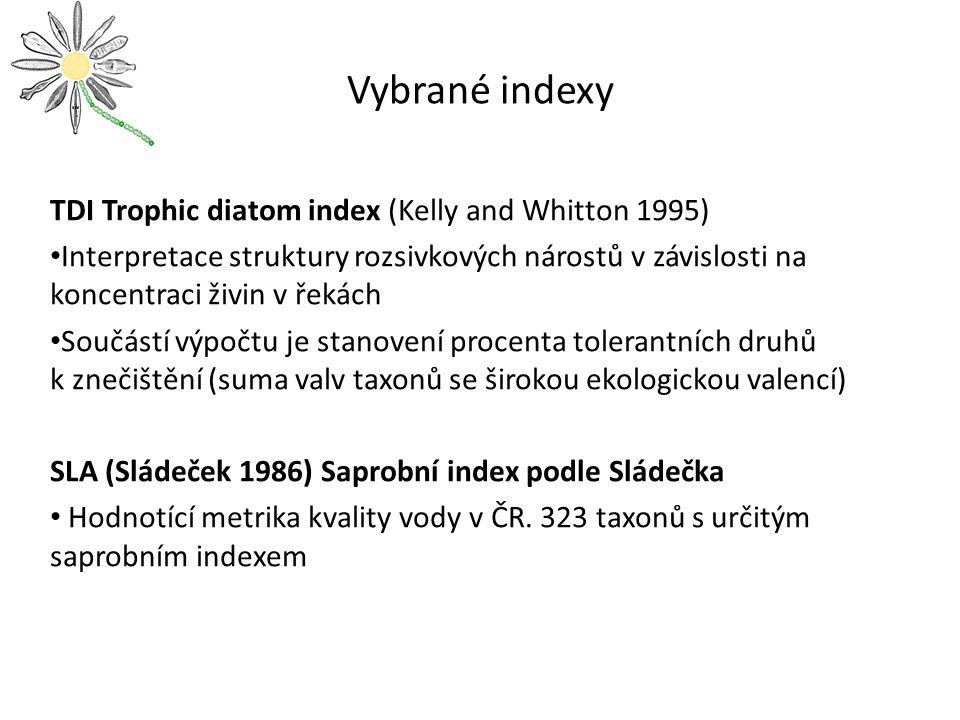 Vybrané indexy TDI Trophic diatom index (Kelly and Whitton 1995) Interpretace struktury rozsivkových nárostů v závislosti na koncentraci živin v řekác
