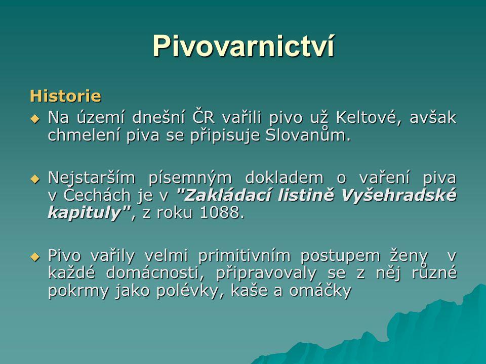 Typy a druhy českého piva Skupiny piv: (podle vyhlášky č.
