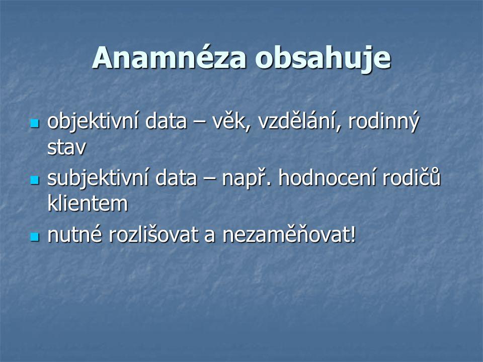 Anamnéza obsahuje objektivní data – věk, vzdělání, rodinný stav objektivní data – věk, vzdělání, rodinný stav subjektivní data – např. hodnocení rodič