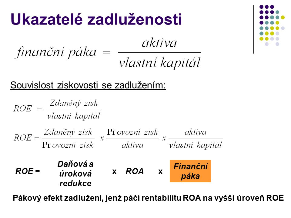 Ukazatelé zadluženosti Pákový efekt zadlužení, jenž páčí rentabilitu ROA na vyšší úroveň ROE ROE = Daňová a úroková redukce ROA Finanční páka xx Souvislost ziskovosti se zadlužením: