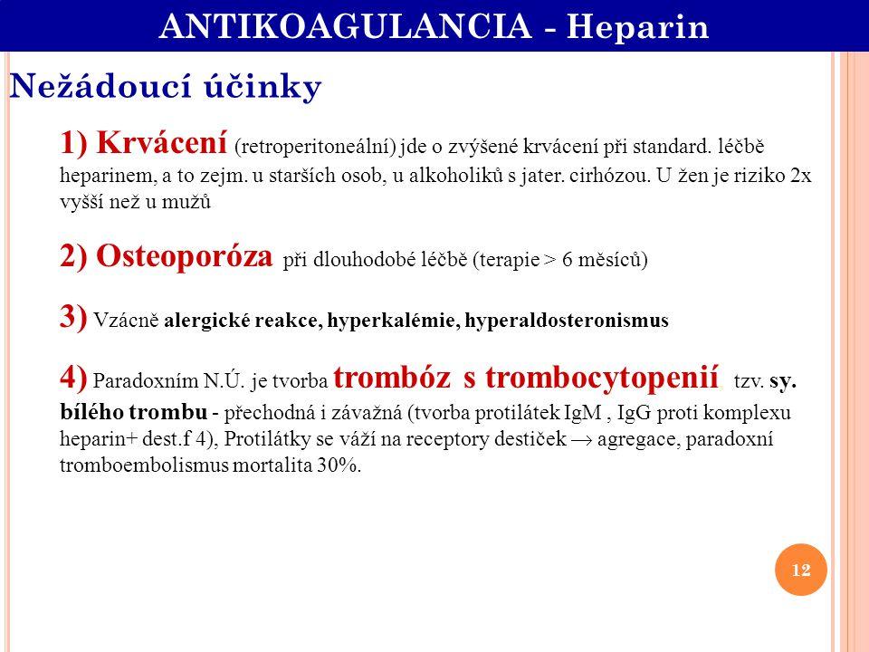 Nežádoucí účinky 1) Krvácení (retroperitoneální) jde o zvýšené krvácení při standard. léčbě heparinem, a to zejm. u starších osob, u alkoholiků s jate