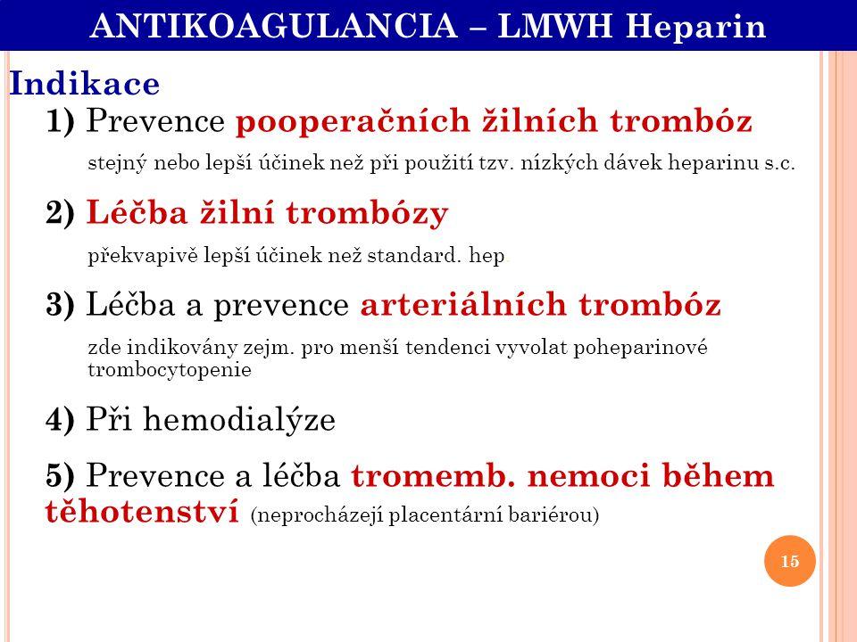 Indikace 1) Prevence pooperačních žilních trombóz stejný nebo lepší účinek než při použití tzv. nízkých dávek heparinu s.c. 2) Léčba žilní trombózy př