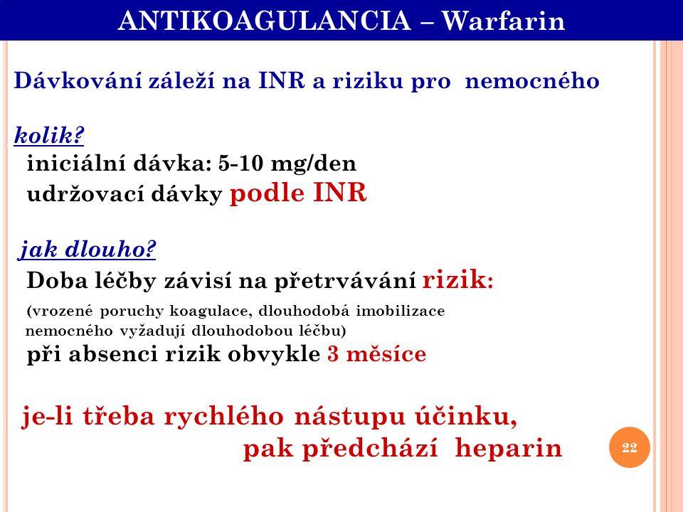 Dávkování záleží na INR a riziku pro nemocného kolik? iniciální dávka: 5-10 mg/den udržovací dávky podle INR jak dlouho? Doba léčby závisí na přetrváv