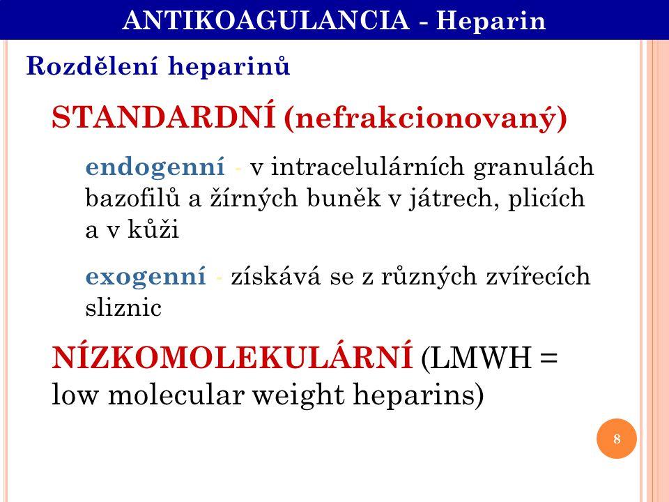 Rozdělení heparinů STANDARDNÍ (nefrakcionovaný) endogenní - v intracelulárních granulách bazofilů a žírných buněk v játrech, plicích a v kůži exogenní