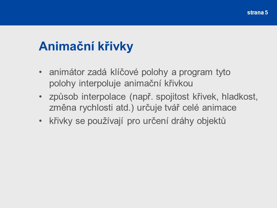 Animační křivky animátor zadá klíčové polohy a program tyto polohy interpoluje animační křivkou způsob interpolace (např.
