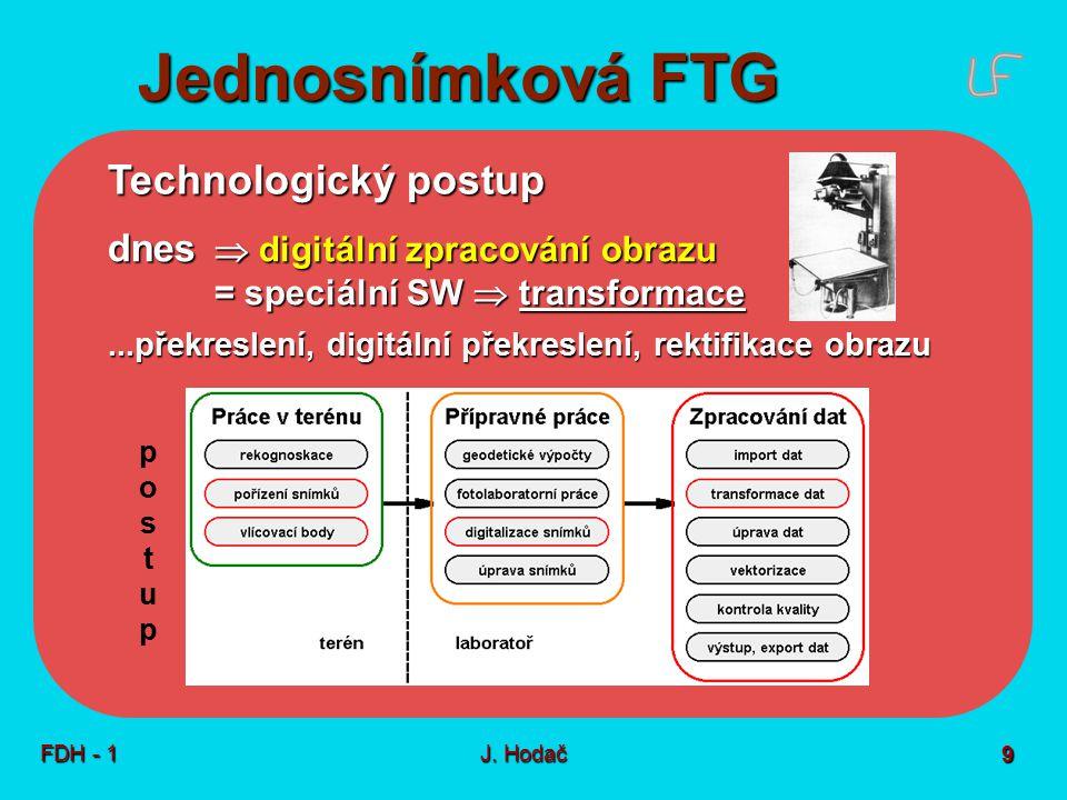 Jednosnímková FTG FDH - 1J. Hodač 9 dnes  digitální zpracování obrazu = speciální SW  transformace...překreslení, digitální překreslení, rektifikace