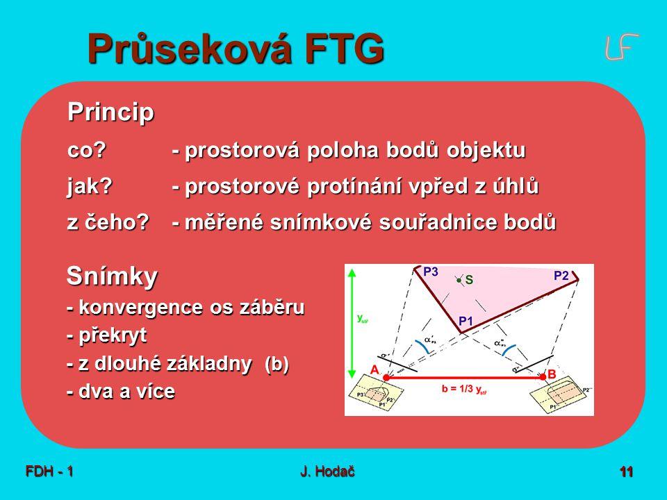 Průseková FTG FDH - 1J. Hodač 11 Princip co? - prostorová poloha bodů objektu jak? - prostorové protínání vpřed z úhlů z čeho?- měřené snímkové souřad