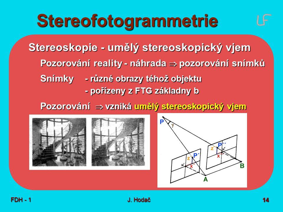 Stereofotogrammetrie FDH - 1J. Hodač 14 Stereoskopie - umělý stereoskopický vjem Pozorování reality - náhrada  pozorování snímků Snímky - různé obraz