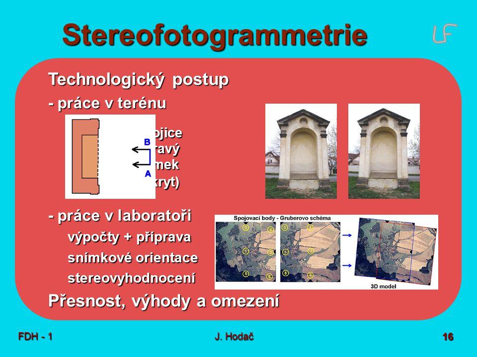 Stereofotogrammetrie FDH - 1J. Hodač 16 Technologický postup - práce v terénu stereodvojice levý + pravý levý + pravý snímek snímek (překryt) (překryt