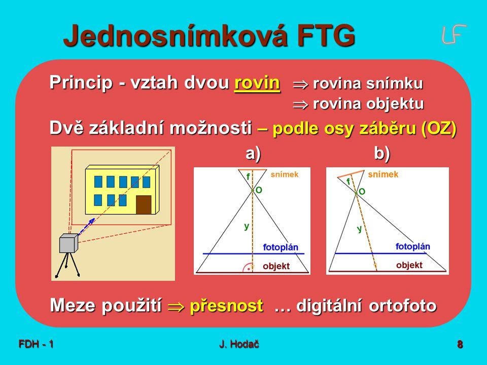 Jednosnímková FTG FDH - 1J. Hodač 8 Princip - vztah dvou rovin  rovina snímku  rovina objektu Dvě základní možnosti – podle osy záběru (OZ) a)b) Mez