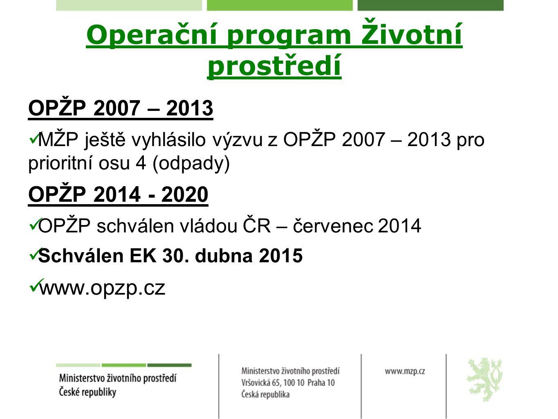 Operační program Životní prostředí OPŽP 2007 – 2013 MŽP ještě vyhlásilo výzvu z OPŽP 2007 – 2013 pro prioritní osu 4 (odpady) OPŽP 2014 - 2020 OPŽP sc