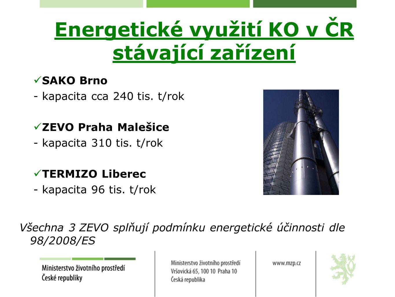 Energetické využití KO v ČR stávající zařízení SAKO Brno -kapacita cca 240 tis. t/rok ZEVO Praha Malešice -kapacita 310 tis. t/rok TERMIZO Liberec -ka