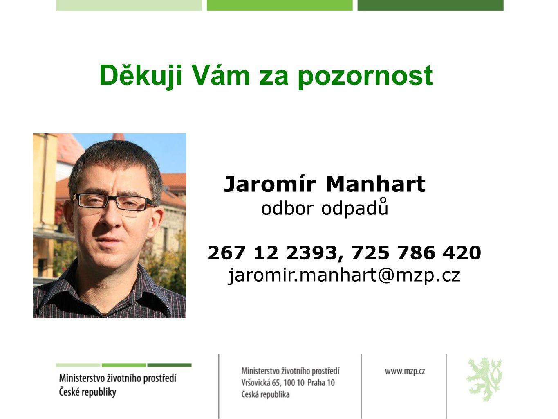 Děkuji Vám za pozornost Jaromír Manhart odbor odpadů 267 12 2393, 725 786 420 jaromir.manhart@mzp.cz
