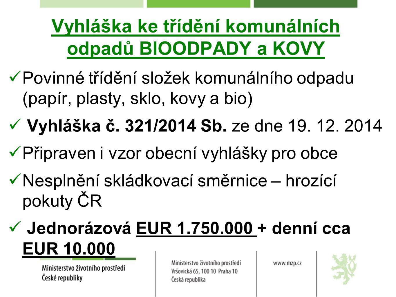 Vyhláška ke třídění komunálních odpadů BIOODPADY a KOVY Povinné třídění složek komunálního odpadu (papír, plasty, sklo, kovy a bio) Vyhláška č. 321/20