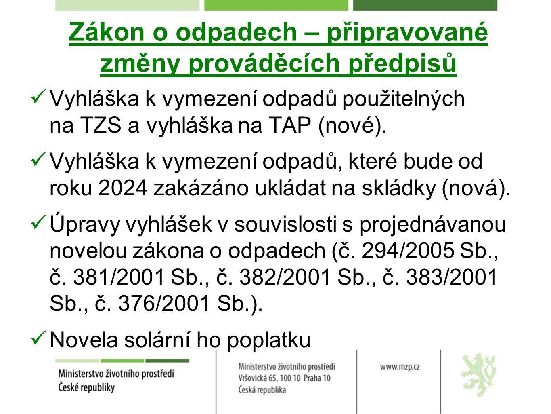 Zákon o odpadech – připravované změny prováděcích předpisů Vyhláška k vymezení odpadů použitelných na TZS a vyhláška na TAP (nové). Vyhláška k vymezen