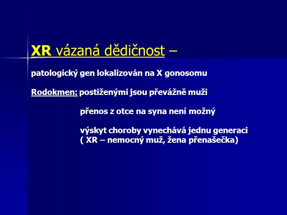 XR vázaná dědičnost – patologický gen lokalizován na X gonosomu Rodokmen: postiženými jsou převážně muži přenos z otce na syna není možný výskyt choro